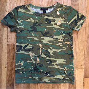 J. Crew Gold Splatter Camouflage T-shirt